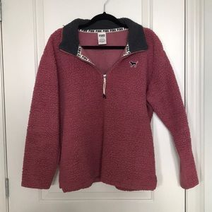 PINK Quarter Zip Sherpa Sweater